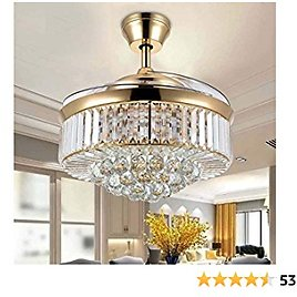 MINGSHOP 42 Inch Crystal Ceiling Fan Light, LED Chandelier Fan with Remote Control Invisible Retractable Blade Extension Design, Dimmable Wind Speed Decorative Pendant Lamp(Gold)