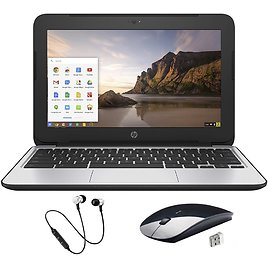 Refurbished HP Chromebook 11 G4 - 11.6-inch, Black, 16GB, 4GB RAM, Intel Celeron N2840, Intel HD Graphics, and Special Fall Bundle Offer Includes: Headset and Wireless Mouse