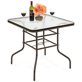 32in Square Tempered Glass Patio Dining Bistro Table w/ Umbrella Hole