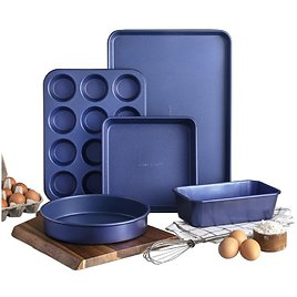 Granite Stone Bakeware Set, 5 Piece Complete Nonstick Baking Set with Ultra Durable Mineral Coating, Heavy Duty 0.8MM Gauge, XL Cookie Sheet, Muffin Pan, Loaf Pan & Round Baking Tray, Dishwasher Safe