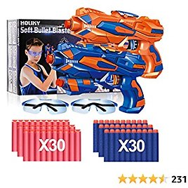 Holiky 2 Pack Blaster Toy Guns for Boys for Nerf Guns Bullets, Foam Bullet Toy Gun with 60 PCS Refill Darts and 2 Protective Glasses for Kids, Hand Gun Toys for 6+ Year Old Boys