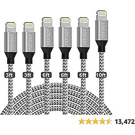 YEFOOT IPhone Charger [MFi Certified] 6Pack[3/3/6/6/6/10ft] Cable Compatible IPhone 12Pro Max/12Pro/12/11Pro Max/11Pro/11/XS and More-Silver&White