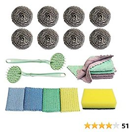 50% Off On 20 Pack Stainless Steel Sponges Scrubber Cleaning Cloth Kitchen Dish Cleaning Sponge, Households Cleaning Set
