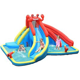 Costway Inflatable Water Slide Crab Dual Slide Bounce House Splash Pool Without Blower