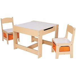 3-Piece Senda Kids' Wooden Storage Table and Chairs Set