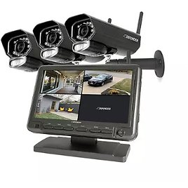"""Defender Phoenixm23c Digital Wireless Security System with 7"""" LCD Monitor and 3 Outdoor/Indoor Night Vision Cameras - Sam's Club"""