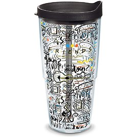 Tervis Warner Brothers - Friends Pattern Insulated Tumbler with Wrap and Black Lid, 1334013, 24 Oz, Clear