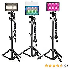 3 Packs RGB Lighting For Zoom Calls,Tabletop Photography Lighting CCT/RGB Mode LED Video Light with Adjustable Tripod Stand For Tablet/Low Angle Shooting, Collection Portrait Tiktok YouTube