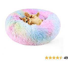 """DADYPET Cat Bed Donut Cozy Dog Bed, Soft Plush Self-Warming Rainbow Sleeping Bed Machine Washable Durable Pet Bed Anti-Slip Water-Resistant Bottom for Cat Dog. M(21.63"""" Dx5.93""""H)"""