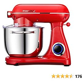 PHISINIC Stand Mixer, 6.5-QT 800W 6-Speed Tilt-Head Dough&Cake Mixer, Kitchen Electric Mixer with Power Hub for Attachment, Dough Hook, Wire Whip & Beater, Red
