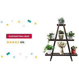 Limited-time Deal: Augosta 3 Tier Wood Plant Stand, Large Multi Tiered Plant Shelf for Multiple Plants, Indoor Flower Pots Stand, Outdoor Plant Shelves Rack Holder