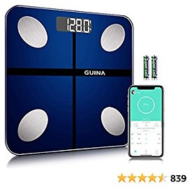 Guina Body Fat Scale-2021 Upgrade, Smart BMI Scale Bathroom Bluetooth Digital Body Composition Analyzer Health Monitor Weight Wireless 4 Hight Precision Sensors Shatter Resistant Tempered Glass (Blue)