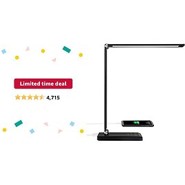 Limited-time Deal: LED Desk Lamp, Desk Lamps for Home Office with USB Charging Port and 3000mah Battery, Eye-Caring Table Lamp with 5 Color Modes and 5 Brightness Levels, 30/60mins Timer Desk Light for Working, Reading