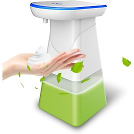Automatic Foaming Soap Dispenser Touchless Battery Driven Electric Hands-Free Foam Dispenser with Infrared Motion Sensor for Kitchen, Bathroom, Etc(400ML - 14 OZ IPX4 Waterproof - White