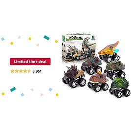 Limited-time Deal: Dinosaur Toys for 3 Year Old Boys, Pull Back Dinosaur Toys for 5 Year Old Boy 6 Pack Set Car Toys for 4 Year Old Boys Christmas Birthday Gifts for Kids 2 3 4 5 6 Year Old Boys Girls