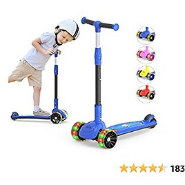 3-Wheeled Scooter for Kids, PU Wheel with LED Lights, Adjustable Lean-to-Steer Handlebar , Foldable Seat, Sit or Stand Ride with Brake for Toddlers Boys & Girls Ages 2-12 Years Old