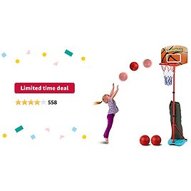 Limited-time Deal: AOKESI Basketball Hoop with 3 Balls for Toddler and Kids Set, Adjustable Height from 2.7 to 6.3 Feet, Indoor Basketball Toys for Boys Girls Baby Outdoor Sports Play for Kids Aged 2 3 4 5