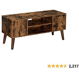 (28% OFF) Retro Stand for TVs Up to 42 Inches, Mid-Century Modern Entertainment Center, 43.4 X 15.8 X 19.5 Inches, Rustic Brown