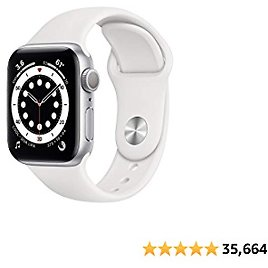 New Apple Watch Series 6 (GPS, 40mm) - Silver Aluminum Case with White Sport Band At Amazon