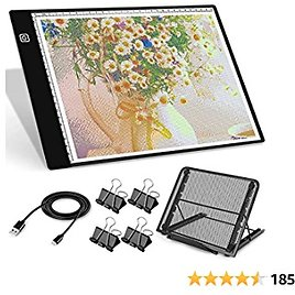 A4 LED Light Box for Tracing, MCGOR USB Powered Diamond Painting Light Pad with Metal Stand & 4 Clips, Dimmable LED Light Board for Tracing, Drawing, Sketching, Animation, Stenciling