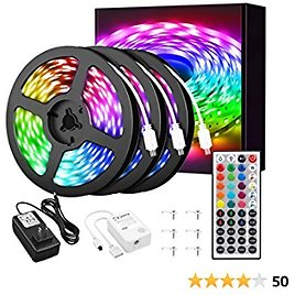 NOWES 50ft LED Strip Lights, 30 PCS/M 450 LEDs Music Synchronize Color Changing RGB Light Strips, Dimmable Tape Lights with Remote Control, 24V Power Supply, Indoor Rope Lights for Bedroom, Kitchen
