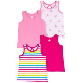Little Star Organic Baby & Toddler Girls Brights Keyhole Tank Tops, 4-Pack (12M-5T)