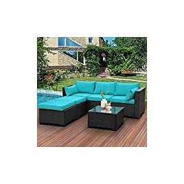 LAFWELL 7 Pieces Outdoor Patio Furniture Sets,Rattan Conversation Sectional Set,Manual Weaving Wicker Patio Sofa with Cushions and Tea Table: Garden & Outdoor