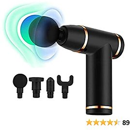 Mini Massage Gun Deep Tissue Percussion Massager for Muscle Relaxation and Neck Back Soreness Pain Relief -Including 4 Massage Heads