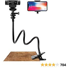 Webcam Stand and Phone Holder - Amada 25 Inch Flexible Arm 360 Desk or Bed Gooseneck Mount Stand for Cell Phone 11 Pro XS Max XR X 8 7 6 Plus and Logitech C925e, C922x, C930e,C922,C930,C920,C615,Brio