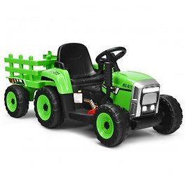 Costway 12V Ride On Tractor with 3-Gear-Shift Ground Loader