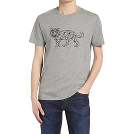 French Connection Mens Tiger Grid Graphic Tee