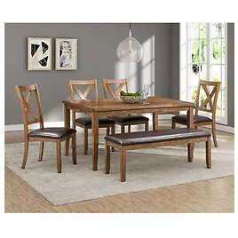 Abbyson Living Reese 6-Piece Wood Dining Set with Bench