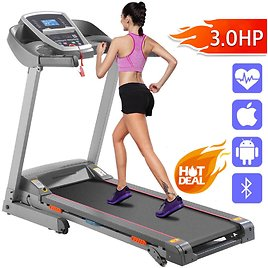 Price Drop! 94% off Ancheer Heavy Treadmill Electric Folding Running Machine APP Bluetooth Control Low Noise,3/5% Manual Incline