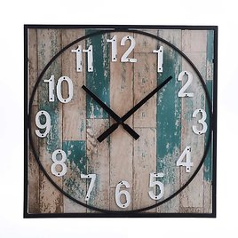 Square Framed Take Time Weathered Wall Clock with Metal Detail