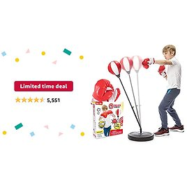 Limited-time Deal: Whoobli Punching Bag for Kids Incl Boxing Gloves   3-8 Years Old Adjustable Kids Punching Bag with Stand   Boxing Bag Set Toy for Boys & Girls