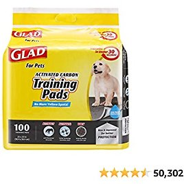 Glad for Pets Jumbo-Size Charcoal Puppy Pads   Black Training Pads That Absorb & Neutralize Urine Instantly   New & Improved Quality Puppy Pee Pads