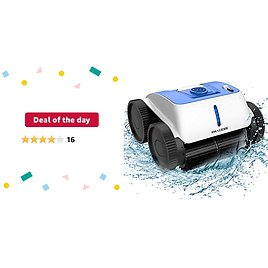 Deal of The Day: PAXCESS Cordless Robotic Pool Cleaner - Wall-Climbing Fuction with Smart Route Plan, Automatic Pool Vacuum, Max Surface Cleaning & Powerful Suction, MAX 90 Mins, for 1614 Sq Ft In/Above Ground Pools