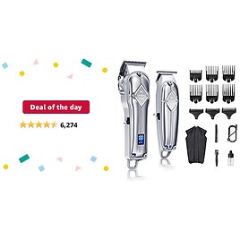 Deal of The Day: Limural Hair Clippers for Men + Cordless Close Cutting T-Blade Trimmer Kit, Professional Hair Cutting Kit Beard Trimmer Barbers Men Women Kids Clipper Set Cordless & Corded Rechargeable Grooming Kit