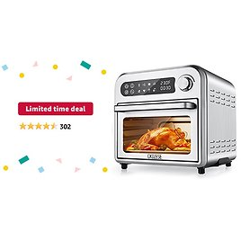 Limited-time Deal: 8-In-1 Compact Toaster Oven Air Fryer Combo, 11QT Countertop Convection Oven with Dehydrator/Bake/Broil/Roast, 6 Slice Large Capacity, Oilless, Temp/Time Dial, 1250W, 4 Accessories & Recipes Included