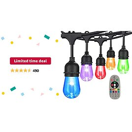 Limited-time Deal: 48FT Color Changing Outdoor String Lights, RGB Cafe LED String Light with 15 E26 Shatterproof Edison Bulb Dimmable, Commercial Light String for Patio Backyard Christmas Holiday Party, Remote