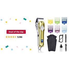 Deal of The Day: Limural Hair Clippers for Men Professional Cordless Clippers for Hair Cutting Beard Trimmer Barbers Grooming Kit Rechargeable, LED Display, Gold