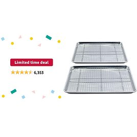 Limited-time Deal: Checkered Chef Baking Sheet and Rack Set - Twin Pack- 2 Aluminum Cookie Sheets/Half Sheet Pans With 2 Stainless Steel Oven Safe Cooling Racks