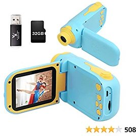 Kids Camera, Video Camera Camcorder for Kids Gifts,1080P HD DV Digital Video Camera, 2.4inch Screen12MP Kids Camera for Children Boys & Girls with 32G SD Card, SD Card Reader