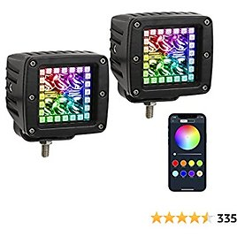 """Nicoko 18w 3"""" Led Work Light with Chaser RGB Halo 10 Solid Colors Over 72 Flashing Modes Headlights Frontlights Flasing Strobe Lights IP 68 Waterproof Free Wiring Harness 1 Year Warranty"""