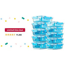 Limited-time Deal: Glass Meal Prep Containers, [10 Pack] Glass Food Storage Containers with Lids, Airtight Glass Bento Boxes, BPA Free & Leak Proof (10 Lids & 10 Containers)