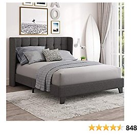 Einfach Queen Upholstered Wingback Platform Bed Frame with Headboard / Wood Slats Support and Square Stitched Headboard/No Box Spring Needed / Easy Assembly, Dark Grey