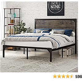 SHA CERLIN Industrial Full Size Platform Bed Frame, Sturdy Structure, Metal Full Bed Frame with Wooden Rivet Headboard, 13 Strong Metal Slats Support / Noise Free / Easy Assembly, Rustic Brown