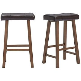 StyleWell Walnut Wood Upholstered Bar Stool with Brown Faux Leather Saddle Seat (Set of 2) (18.75 In. W X 30 In. H)-DP18028