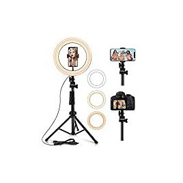 """10.2"""" Selfie Ring Light with Stand (14.56'' to 65'') & Phone Holder 3 Modes & 10 Brightness LED Ring Light for YouTube Video/Live Stream/Makeup/Photography Remote Control Compatible with IOS/Android : Camera & Photo"""