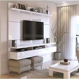 Luxor City 63 In. White Gloss Particle Board Floating Entertainment Center Fits TVs Up to 55 In. with Storage Doors-288HD2